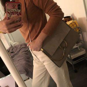 CHLOE Calfskin Suede Medium Faye Bag Motty Grey